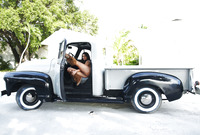 Curvy exotic babe Nadia posing nude in pickup truck (nude photo 1 of 16)