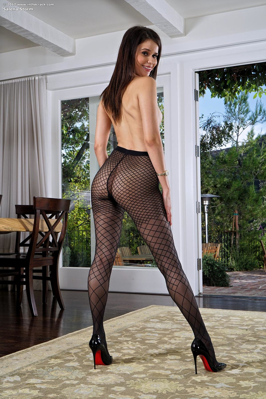 Salena Storm In Fishnets And Heels By In The Crack 15 -8605