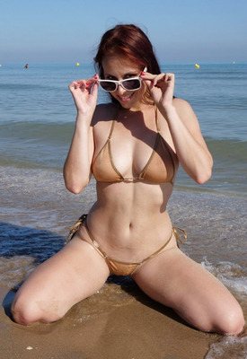 Antonia Sainz in Sheer Bikini On The Beach at HQBabes