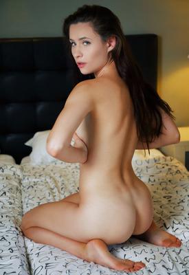 12 Pics: Mara Blake fingering pussy in fishnet stockings for Sex Art